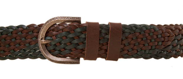 Knitted leather belt