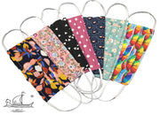 Set of 7 Colorful masks from multi-purpose washable cotton with filter pocket and nose support MK1/1-1