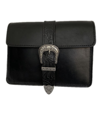 "Kalypso"" - small crossbody bag handcrafted from natural black leather with flower details WT/55F2FM2"