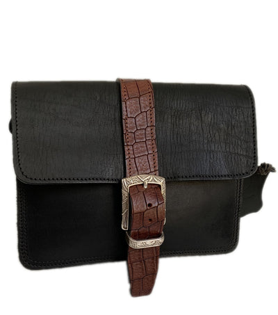 "Kalypso"" - small crossbody bag handcrafted from natural black leather with brown croco details WT/55F2FMK"