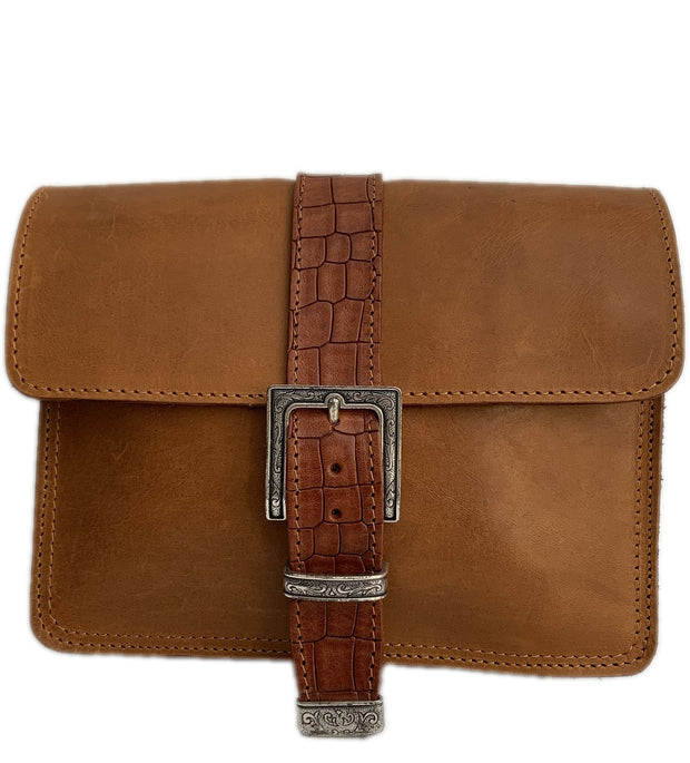 "Kalypso"" - small crossbody bag handcrafted from natural light brown leather with croco details WT/55F2FT"