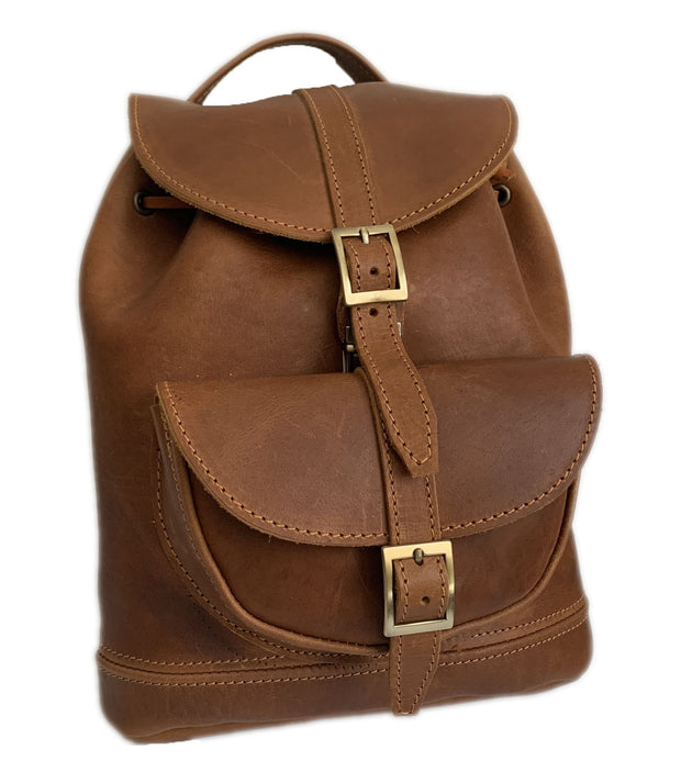 """Themis"" - Small backpack (rucksack) handcrafted from natural light brown leather WT/64T"