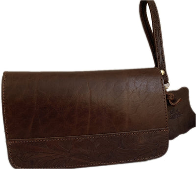 """Oneiros"" - small crossbody bag handcrafted from natural dark brown leather with flower design WT/58FK"