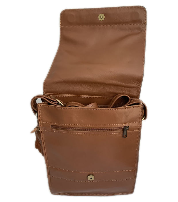 """Aris"" - bigsize men's crossbody bag handcrafted from soft light brown leather WT/72MSFF"