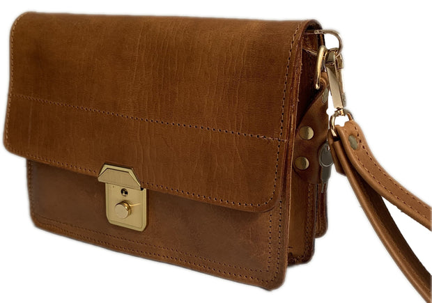"""Sokratis"" - small crossbody bag handcrafted from natural light brown leather with square lock WT/55T"