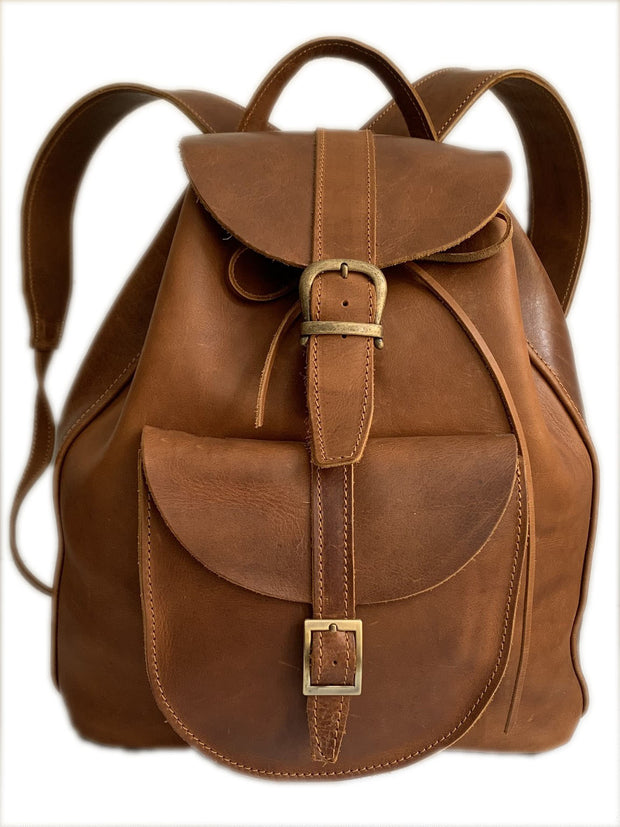 """Haris"" - Unisex midsize backpack (rucksack) handcrafted from natural light brown leather WT/61T"
