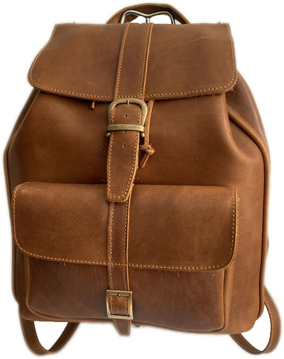 """Ippokratis"" - Unisex bigsize backpack (rucksack) handcrafted from natural light brown leather WT/59T"