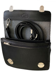 """Sokratis"" - small crossbody bag handcrafted from natural black leather with duble lock WT/55M2B"