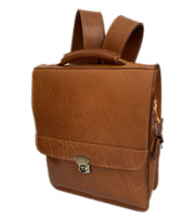 """Augeas"" - Unisex crossbody and backpack bag handcrafted from natural light brown leather WT/79T"