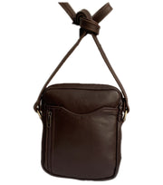 """Achilleas"" - small men's crossbody bag handcrafted from soft brown leather WT/AN1K"