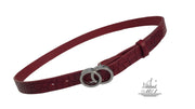 Women's thin belt handcrafted from red natural leather with croco design 101343/25 rd-kr