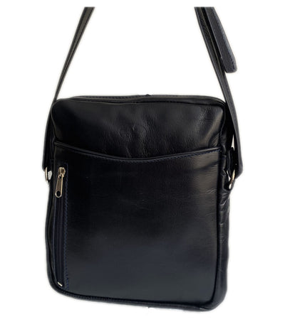 """Iason"" - midsize men's crossbody bag handcrafted from soft blue leather WT/AN2MP"