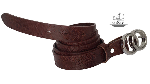 Women's thin belt handcrafted from natural leather with  design 101343/25 k-dt
