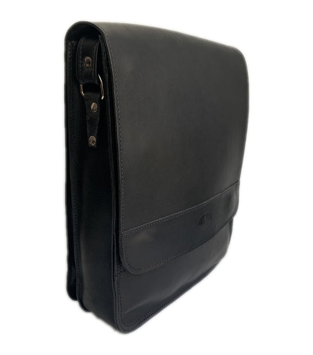 """Aris"" - bigsize men's crossbody bag handcrafted from natural black leather WT/72MSFF"