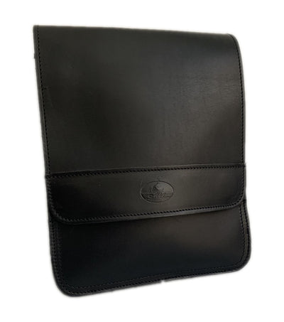 """Ermis"" - midsize men's crossbody bag handcrafted from natural black leather WT/66M"