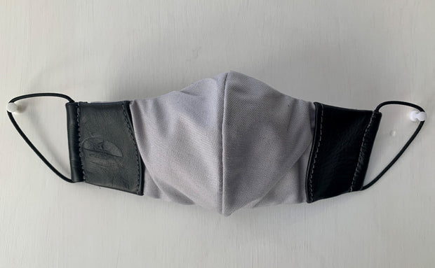 Mask from multi-purpose washable cotton with leather details, filter pocket and nose support Mk1/3-1