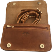 """Oneiros"" - small crossbody bag handcrafted from natural light brown leather WT/58FLK"