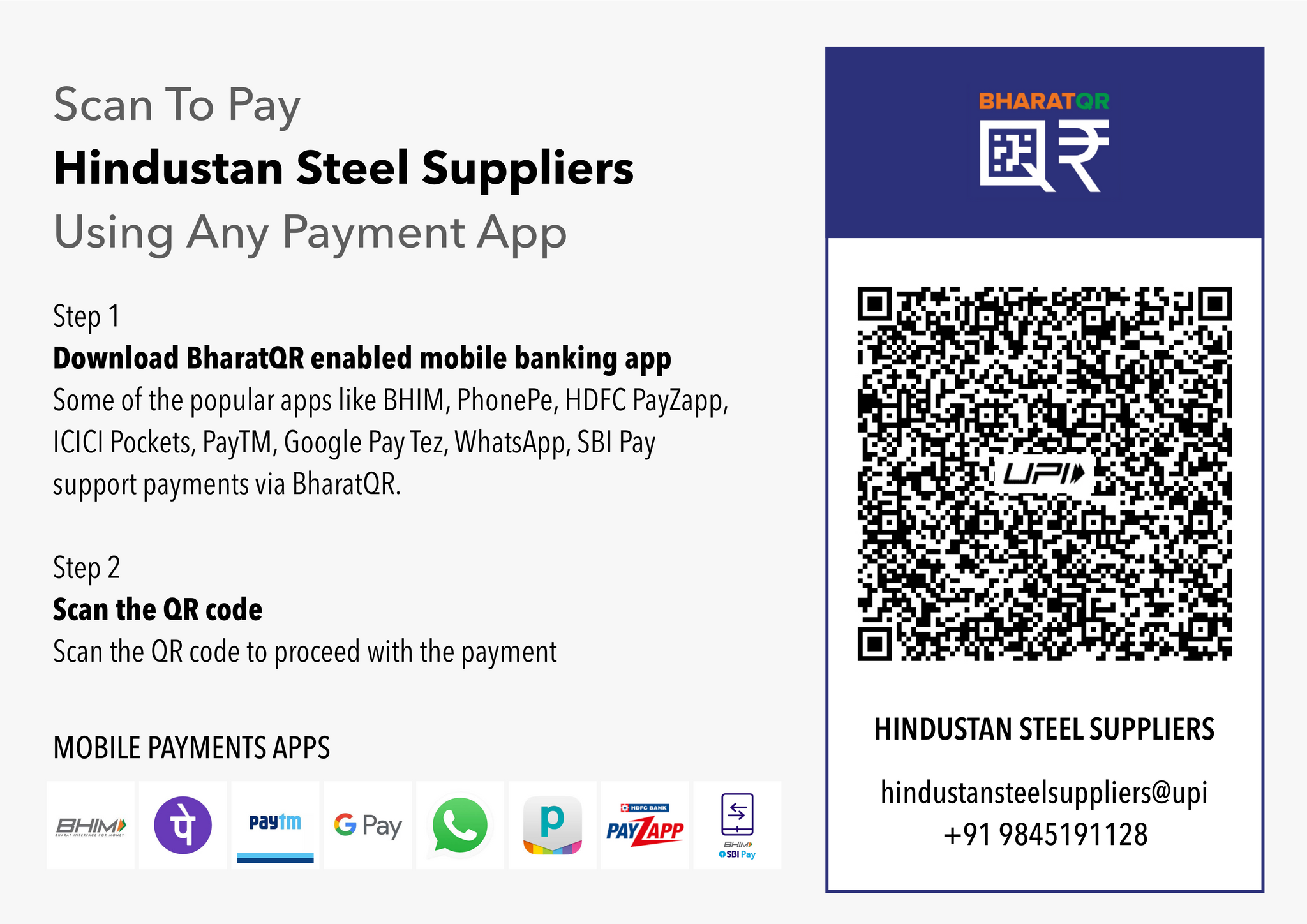 Scan to Pay Hindustan Steel Suppliers using Any Mobile Payment App | BHIM | Phonepe | Paytm | WhatsApp | ICICI pockets | HDFC | SBI PAY | BharthQR | UPI | UPI ID
