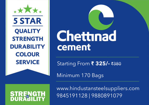 Chettinad Cement   Chettinad is 5 Star Quality Cement. It's High in Strength & Durable.   Chettinad Cement Starting from ₹ 325/- Min 170 Bags  Shop Online from  https://www.hindustansteelsuppliers.com/collections/cement/chettinad  Or Call us at 9845191128 | 9880891079 | Hindustan Steel Suppliers