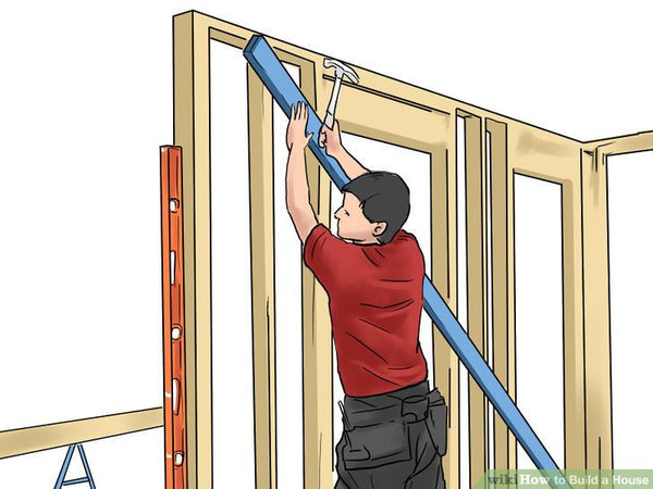 Plumb the walls and brace them securely. Install sheathing if required. Otherwise, use sheet metal straps to diagonally brace all exterior wall corners. Make sure all studs (vertical framing members, usually 2 inch by 4 inch (5 cm by 10 cm) nominal lumber, graded standard or better) are securely nailed in place, straight and square to the wall line.  | Hindustan Steel Suppliers