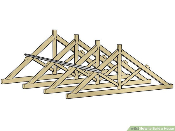 Lay out the marks for setting your roof trusses. You may want to stick frame your roof, cutting and installing rafters and ceiling joists yourself (especially if you want a usable attic space). Prefab trusses, however, are engineered with lighter, smaller lumber for maximum strength. There are some trusses for attics with high-pitched roofs and dormers, as well as more traditional roofs. Research your options and choose something that works well for your home.