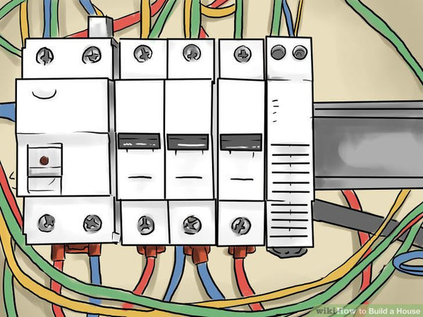 Rough-in electrical outlets. Most likely, there will be electrical outlets, light fixtures, and special wiring required for large appliances like water heaters, stoves, and air conditioning that will be necessary to do as soon as possible. Install the main electrical panel box, and any sub-panels your design requires, and install wiring from these to each device.      Commonly, #12 Romex cable is used for ordinary lighting and outlet circuits, and nail-in electrical boxes are attached to the wall studs, with the front edge protruding to allow for the finished wall material to be flush. | Hindustan Steel Suppliers