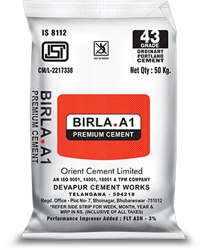 Buy Birla A1 43 Grade OPC Cement at Low Price from Birla A1 Cement Dealers in Bangalore with Free Delivery. Birla A1 43 Grade Cement Price in Bangalore. Originally named Orient 43 Grade Cement, it was amongst the earliest successes of Orient Cement paving the way for the others to follow. Manufactured under controlled process conditions deploying sophisticated plant machinery, it gained immense popularity in a short span of time and was instrumental in making Orient Cement a household name. The brand has no