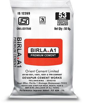 Buy Birla A1 53 Grade OPC Cement at Low Price from Birla A1 Cement Dealers in Bangalore with Free Delivery. Birla A1 53 Grade Cement Price in Bangalore.  One of the pioneers of 53-Grade Cement in India, Orient Cement opened up a whole new dimension in building construction with the launch of Orient Gold 53-Grade Cement in 1992. The runaway success of Orient Gold is a testimony to our efforts to provide consumers with only the very best. The brand has now been integrated under our umbrella brand and rechrist