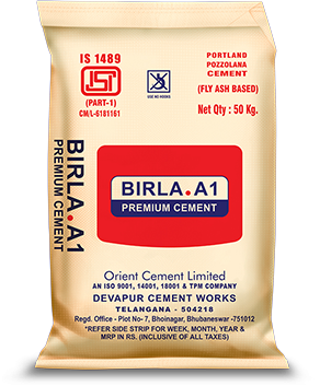 Buy Birla A1 Cement at Low Price from Birla A1 Cement Dealers in Bangalore. Buy Birla A1 Cement at Wholesale Price from hindustansteelsuppliers.com  Launched as a corollary to the magnificent success of Orient Gold 53 Grade Cement, Birla A1 Premium Cement has carved a niche in the market and is already among the best known brands in south-west India. Our flagship brand in the PPC category, Birla A1 Premium Cement is an inter-grinding of Portland cement clinker, gypsum and very fine-grained highly reactive f