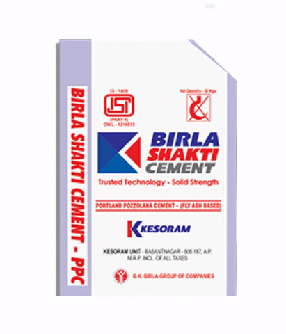 "Buy Vasavadatta Birla Shakti PPC Grade Cement Online at the Lowest Price from the Authorised Dealers in Bangalore.  Vasavadatta Birla PPC Grade Cement is more denser when compared OPC and offers great resistance against harmful salts.  Birla Shakti has two cement manufacturing plants located at Sedam, Karnataka and Basantnagar, Andhra Pradesh (the ""Kesoram Cement Plant""). Our cement business has been in operation for over 40 years, catering to the regional demands predoimnently in Karnataka, Andhra Pradesh"