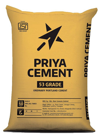 "Buy Priya OPC 53 Grade Cement Online at the Lowest Price from the Authorised Dealers in Bangalore.  Priya Gold 53 Grade Cement emerged has popular cement that is recognized for its quality, it is commonly used for the construction of residential and commercial structures.  Call us to Get a Better Price    Rain Cements Limited (""RCL"") is a leading producer of 3.12 million tons per annum of cement in South India since 1986 at two integrated plants at the following locations. RCL markets cement under the brand"