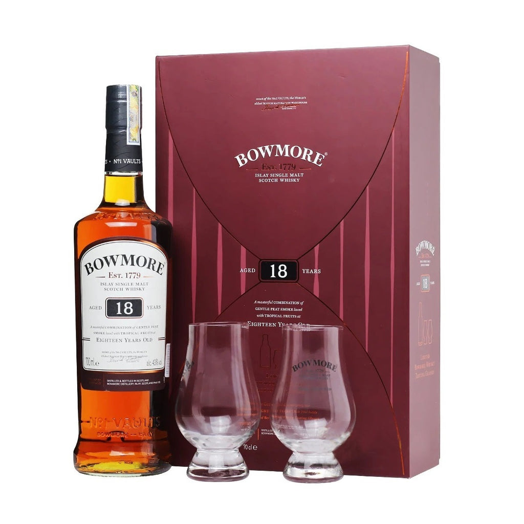 Bowmore 18 Years with 2 FREE Whisky Glass Gift Set