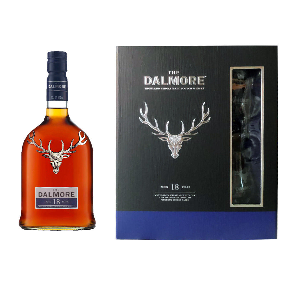 Dalmore 18 Years old Gift Set FREE 2 Glencairn Glass