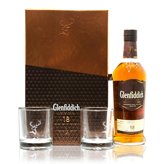 Glenfiddich 18 Years Old Gift Set FREE 2 Glenfiddich Whisky Glasses