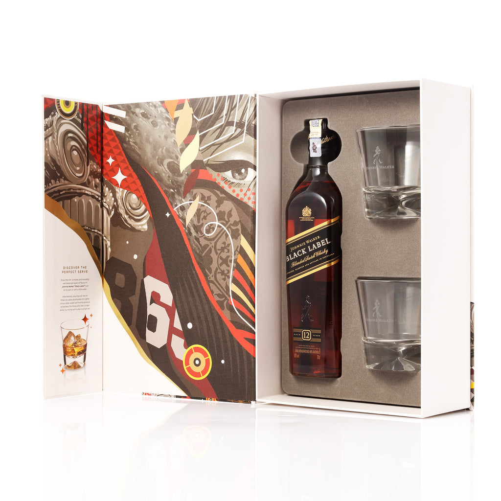 Johnnie Walker Tristan Eaton Artist Series Black Label Gift Set with 2 Glasses - The Whisky Shop Singapore