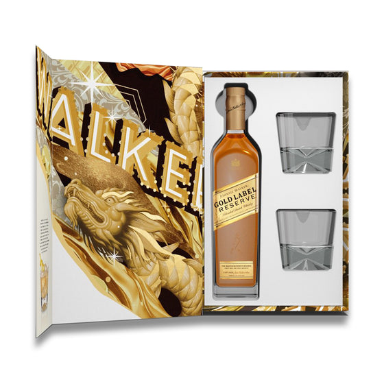 Johnnie Walker Gold Label Gift Set w 2 Glasses - The Whisky Shop Singapore