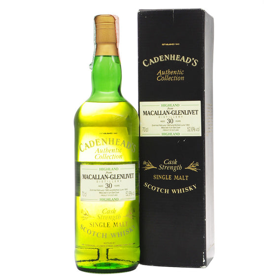 Macallan-Glenlivet 1963 30 Years Cadenhead (ABV 52.6%) - The Whisky Shop Singapore