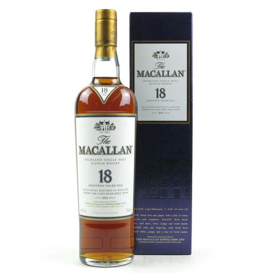 Macallan 18 Years Sherry Oak - 2016 Annual Release - The Whisky Shop Singapore