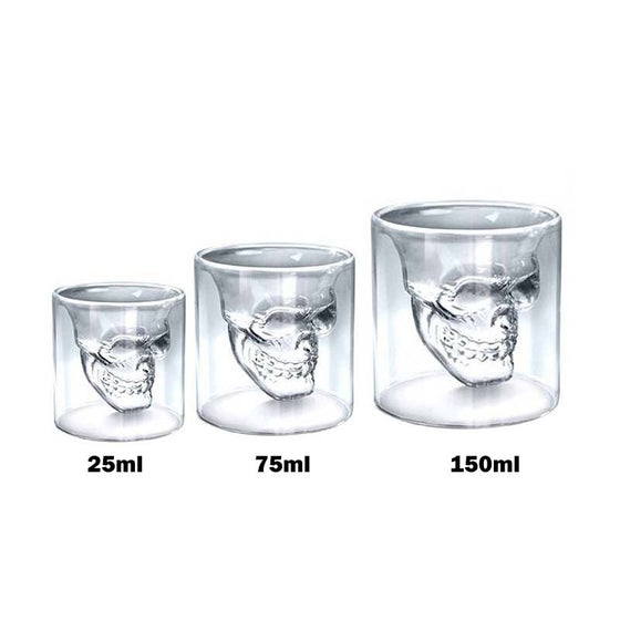 Crystal Skull Head Shot Glass, 3 Different Sizes Available - The Whisky Shop Singapore