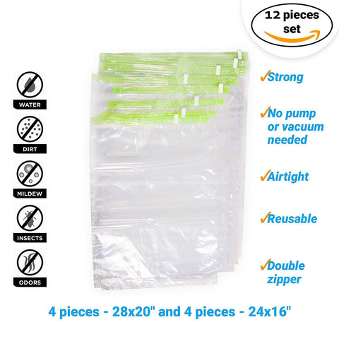 ef25547d6eab IMPORTIKAAH Travel Storage Bags for Clothes - Compression Bags for Travel - No  Vacuum Sacks-