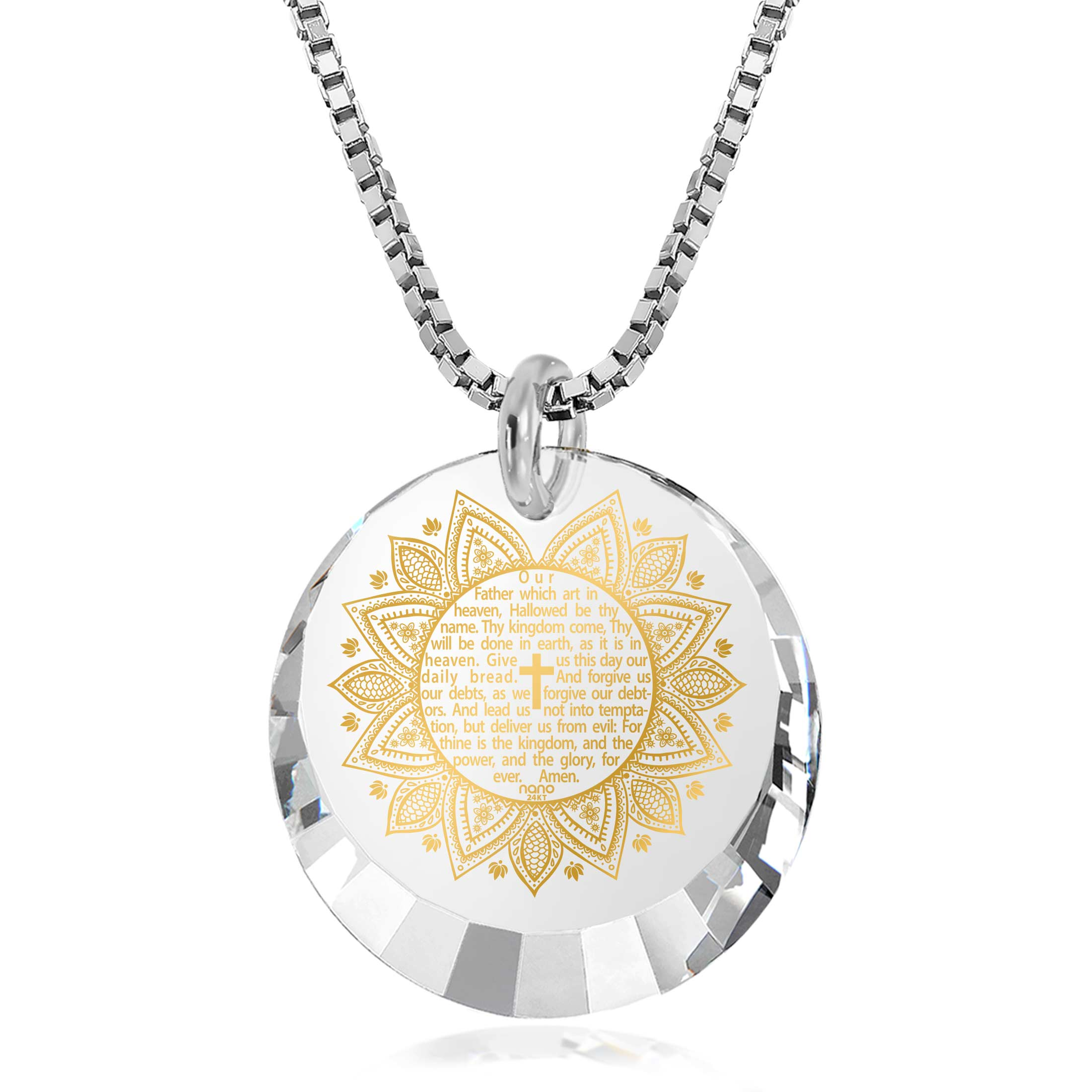 Best Christian Gifts: The Lord's Prayer Song KJV - Round Factted 12mm CZ - 14K White Gold - Nano Jewelry