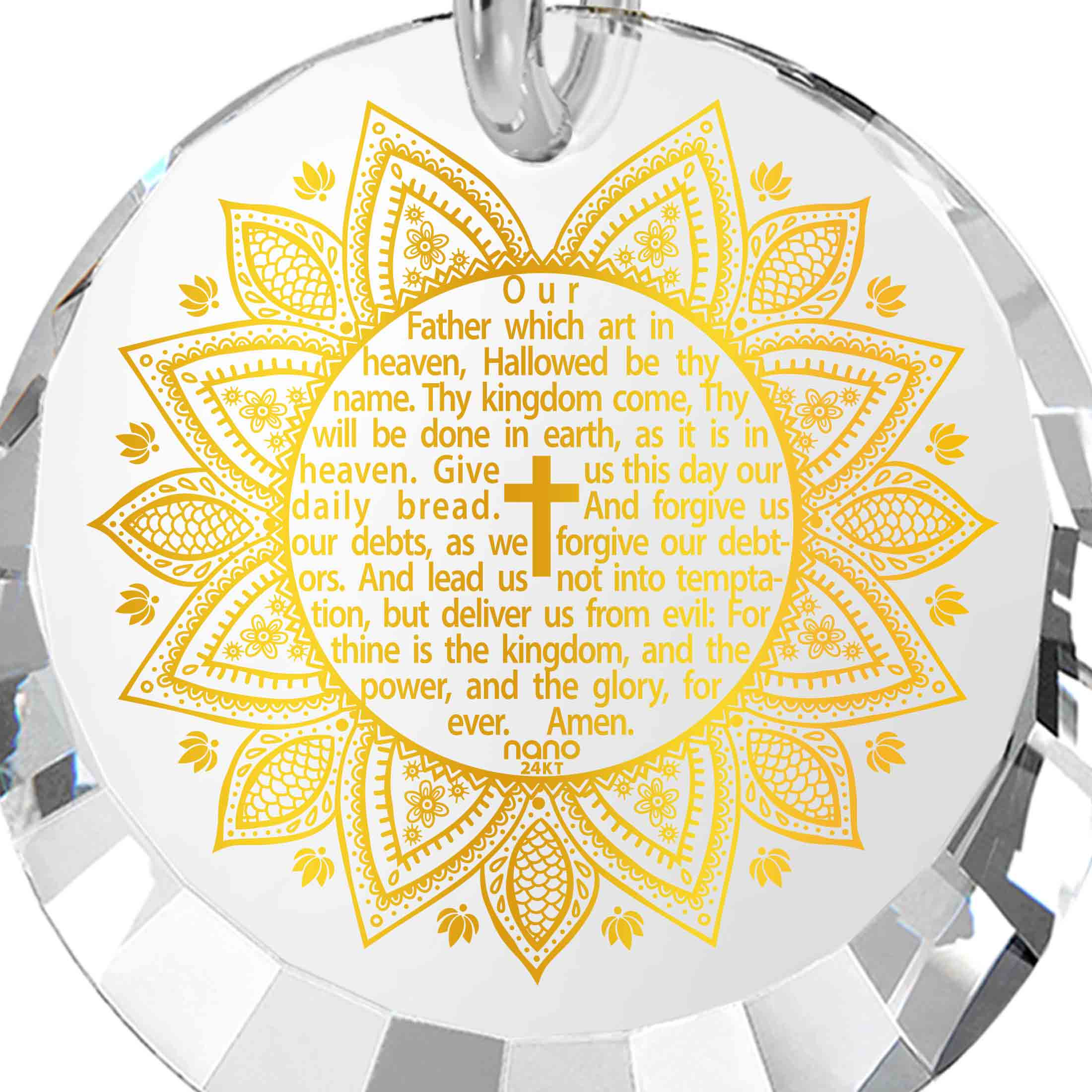 Best Christian Jewelry: The Lord's Prayer Song KJV - Round Factted 12mm CZ - 14K White Gold - Nano Jewelry