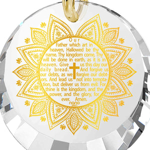 Christian Jewelry For Girls: The Lord's Prayer Song KJV - Round Factted 12mm CZ - Silver Gold Plated - Nano Jewelry