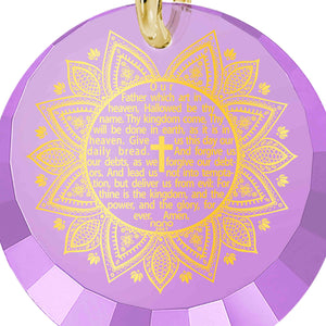 Christian Necklace: The Lord's Prayer Song KJV - Round Factted 12mm CZ - Silver Gold Plated - Nano Jewelry