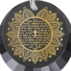 Christian Birthday Gifts: The Lord's Prayer Song KJV - Round Factted 12mm CZ - 14K White Gold - Nano Jewelry