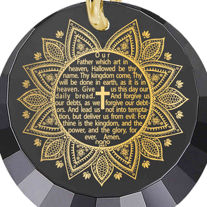 Christian Inspired Jewelry: The Lord's Prayer Song KJV - Round Factted 12mm CZ - Silver Gold Plated - Nano Jewelry