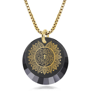 Christian Gifts Online: The Lord's Prayer Song KJV - Round Factted 12mm CZ - Silver Gold Plated - Nano Jewelry