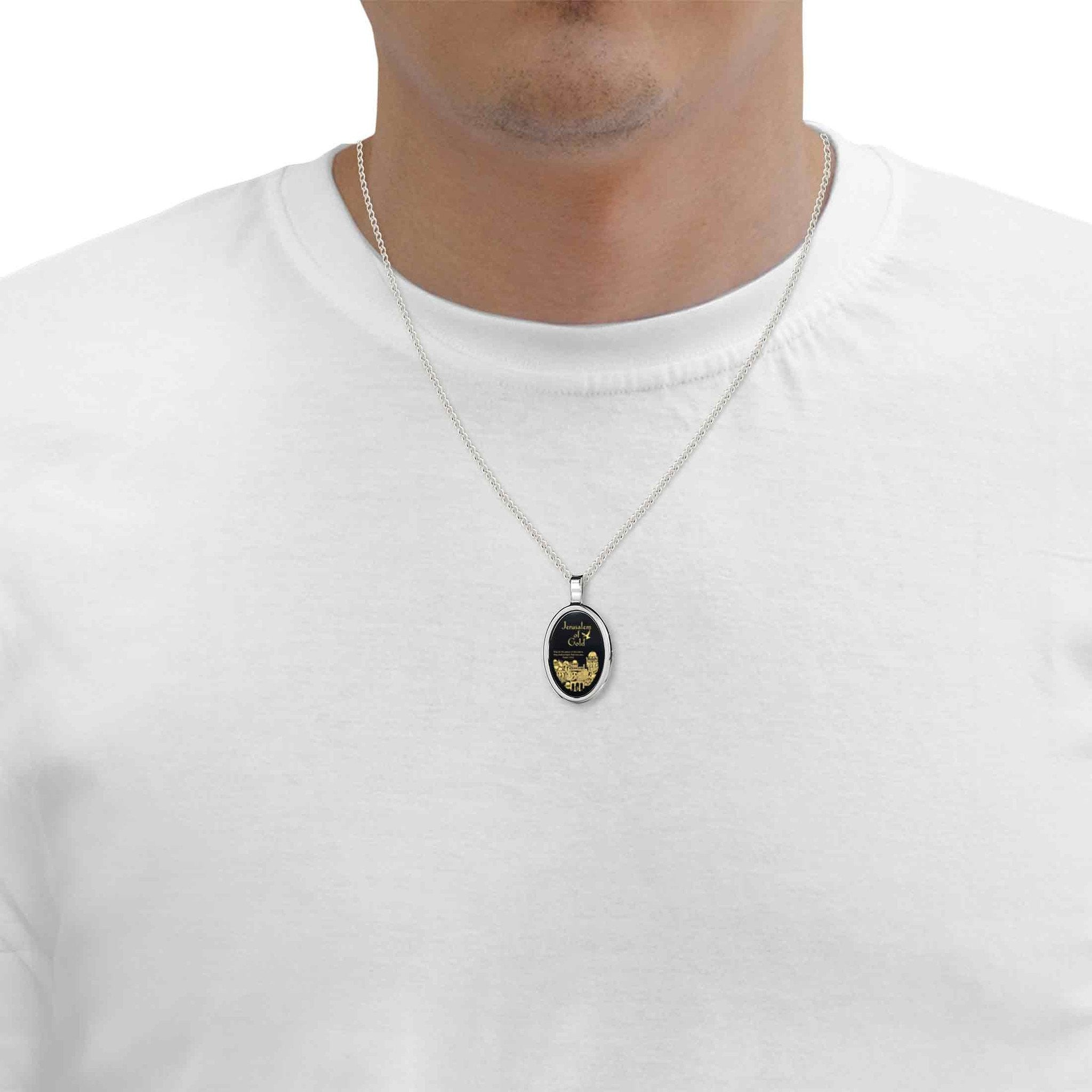 Pray for The peace of Jerusalem, 925 Sterling Silver Necklace, Onyx