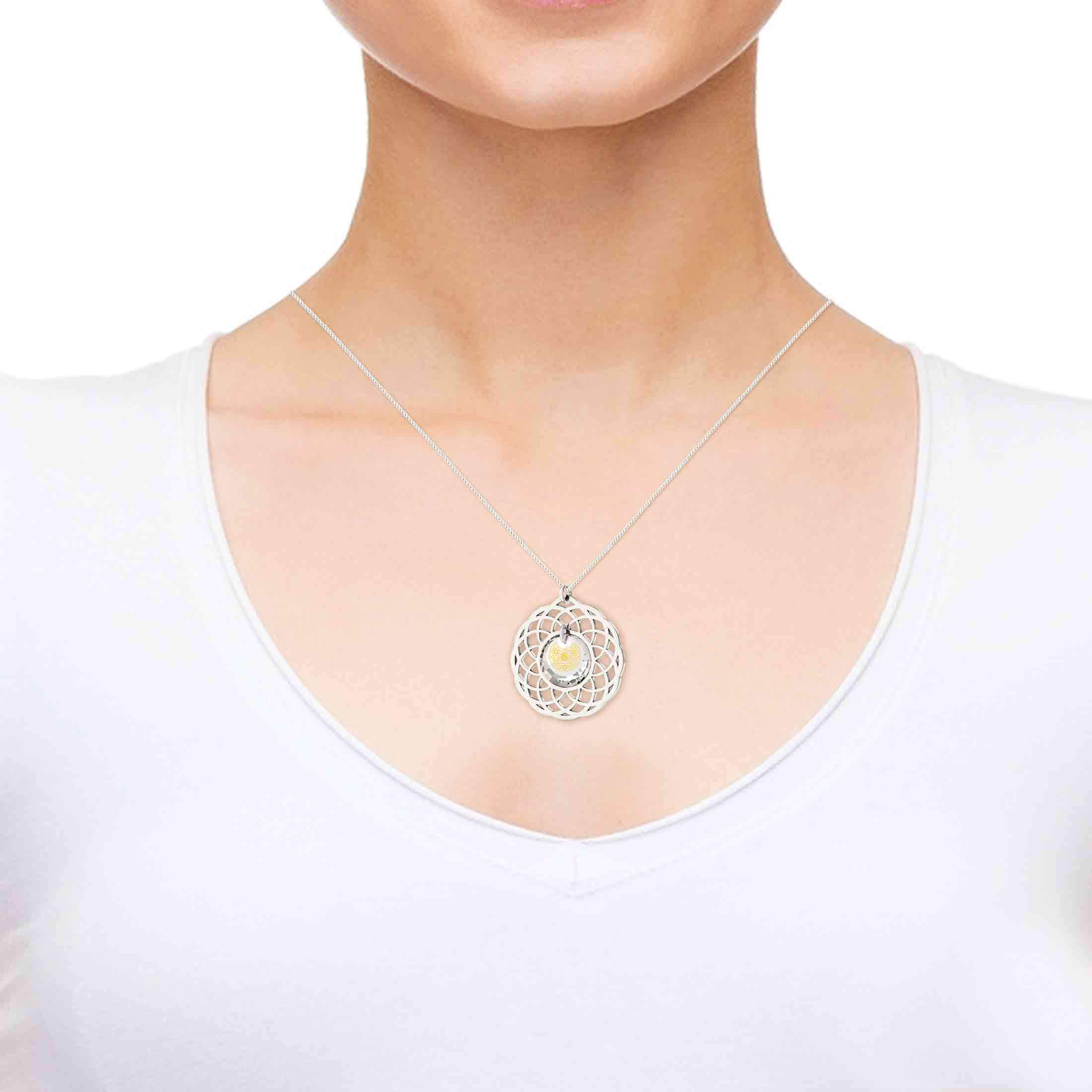 "Mandala Necklace with ""Shema Yisrael"" Engraved in 24k, Nano Jewelry"