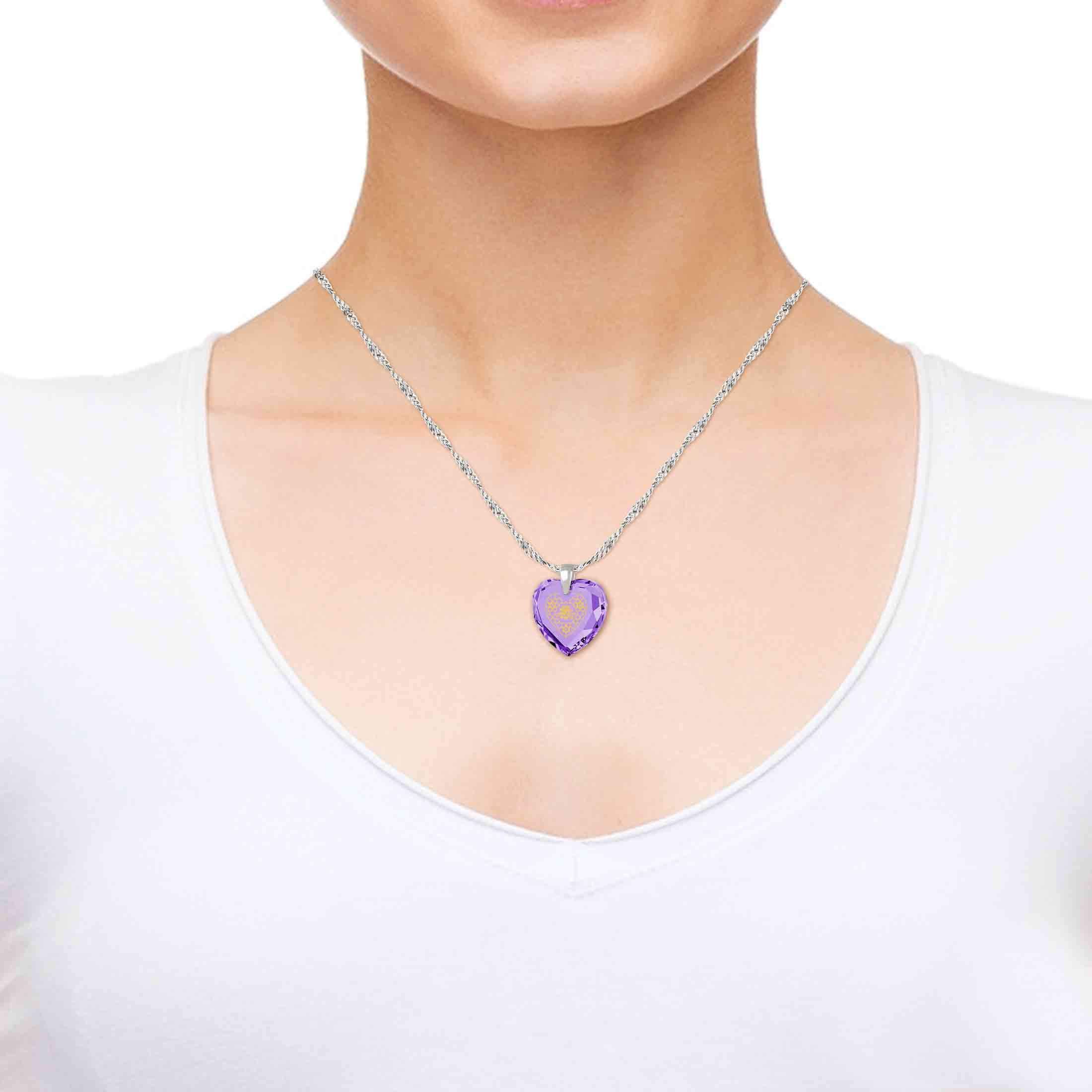 Shema Necklace with Purple Stone Pendant, Nano Jewelry